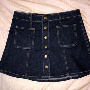 Denim Skirt Button-Up
